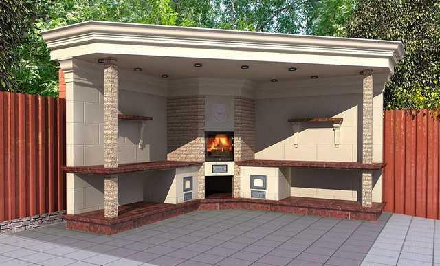 Летняя кухня на даче с мангалом