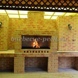 Летняя кухня под навесом с мангалом